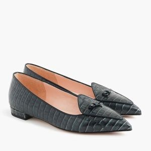 J. Crew Croc Leather Pointed Toe Bow Loafers